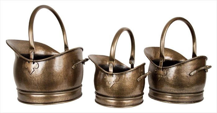 Set of 3 Classic Scuttles Antique brass Finish
