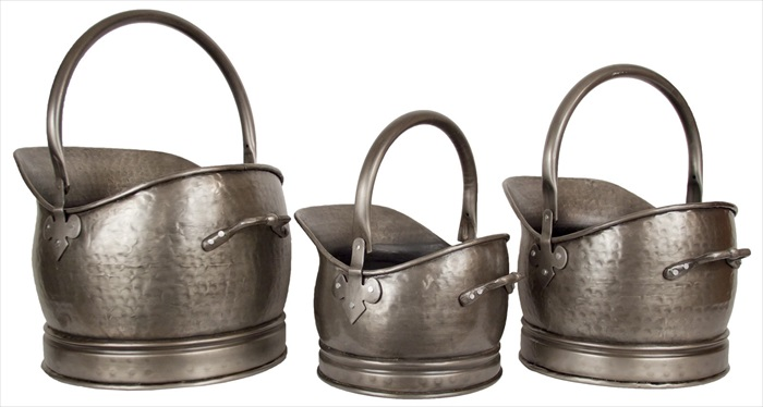 Set Of 3 Classic Scuttles Antique Pewter Finish