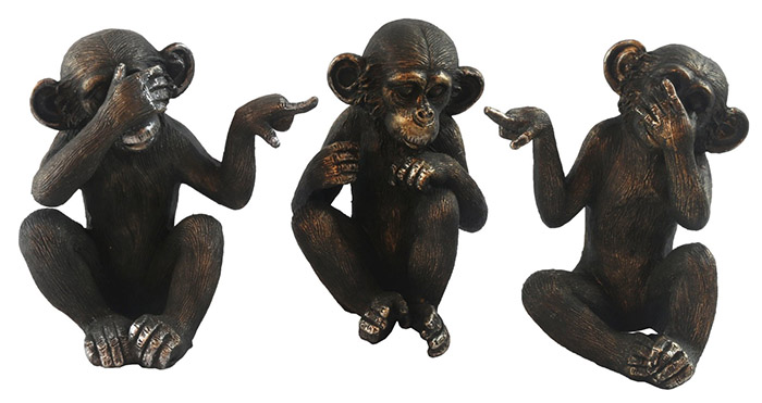 Set Of 3 Small Resin Monkeys