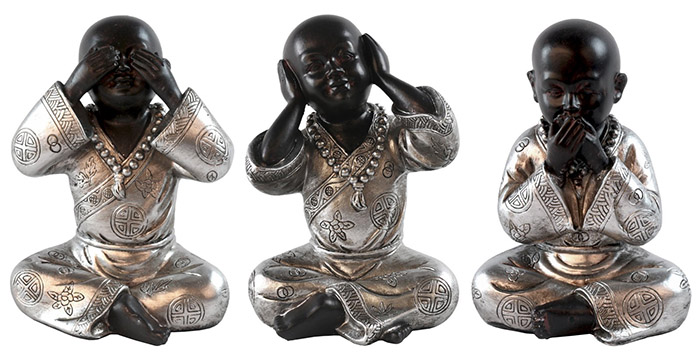 Set Of 3 Resin Sitting Monks see, Hear, Speak No Evil