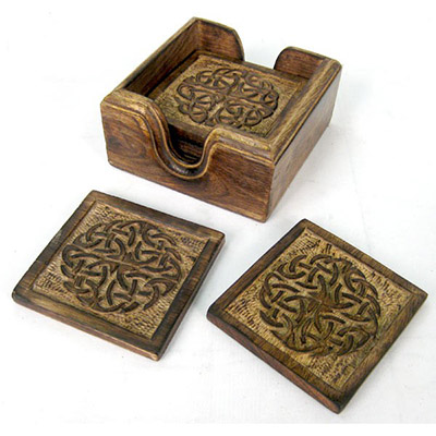 Set Of 6 Wooden Celtic Coasters