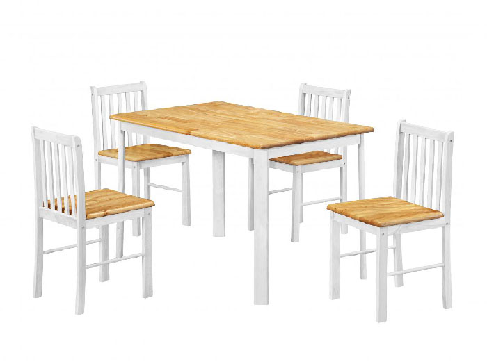 Sheldon Natural Oak /White Finish Table & 4 Chairs