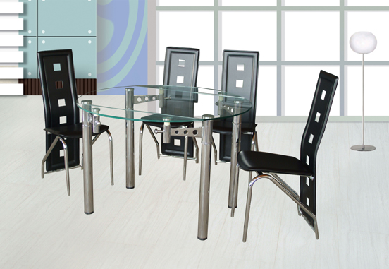 Silo Glass Top Table & 4 Black Chairs