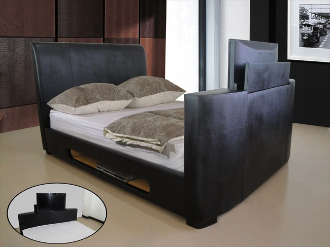 Sonic Bonded Brown or Black Leather Tv Beds From