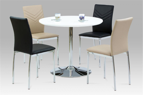 Sylvia High Gloss White Dining Set