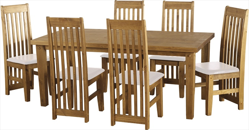 Tortilla Distressed Waxed Pine Table & 6 Chairs