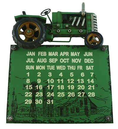 Tractor Metal Wall Hanging Calender