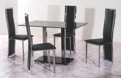 Tandam Black Table Top & 4 Chairs