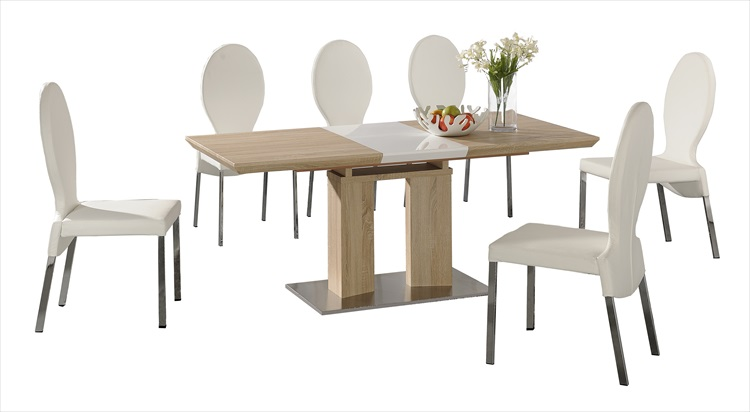 Theo Extending White Gloss & Table & 6 Chairs