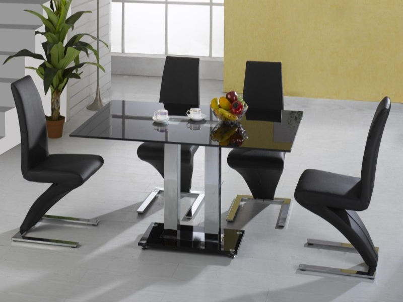Trinity Glass Top Table & 4 Ankara Chairs