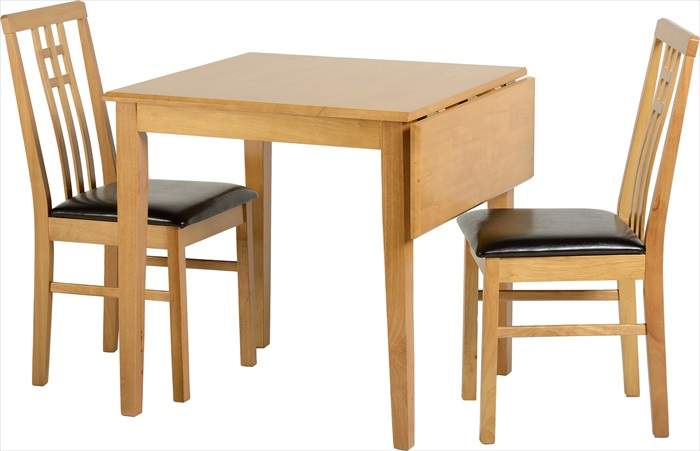 Vienna Medium Oak Drop Leaf Table & 2 Chairs