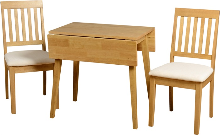 Small Natural Oak Veneer Drop Leaf Table & 2 Chairs