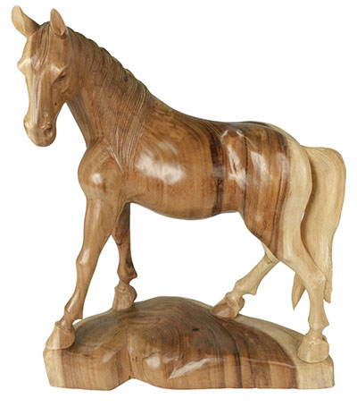 Wooden Horse 60Cm Natural Finish
