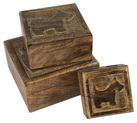 Wooden Set Of 3 Scottie Boxes
