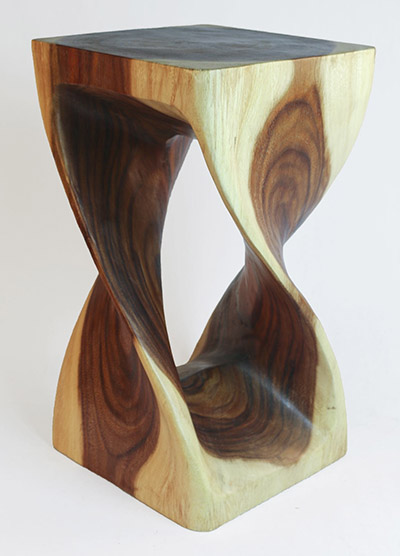 Wooden Twist Plant Stand Natural Finish