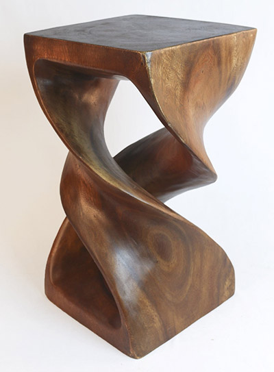Wooden Double Twist Plant Stand Honey Finish