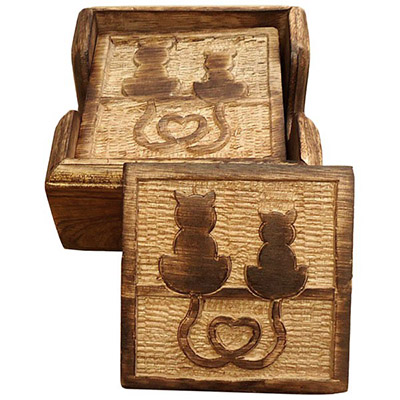 Wooden Set Of 6 Cat Coasters