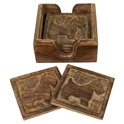 Wooden Set Of 6 Scottie Dog Coasters