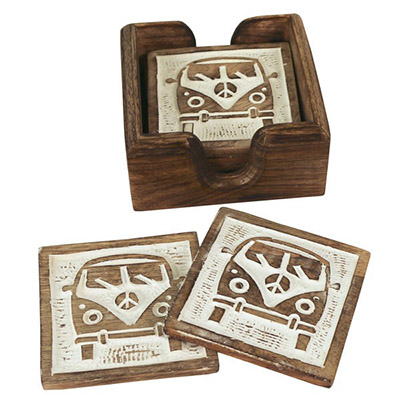 Wooden Set Of 6 Van Coasters