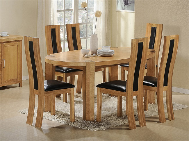 Zeus Solid Oak with Oak Veneer Oval Table & 6 Chairs