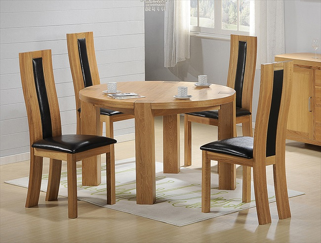 Zeus Solid Oak with Oak Veneer Round Table & 4 Chairs