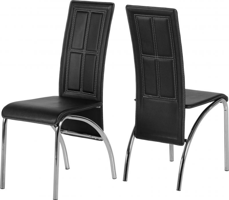 A3 Faux Black Leather Dining Chair Set Of Two