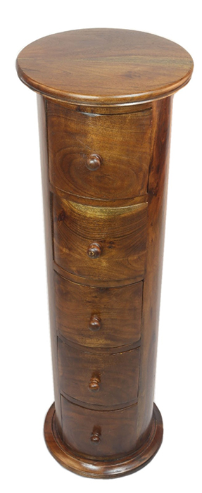 Acacia Lisbon Round 5 Drawer Cabinet