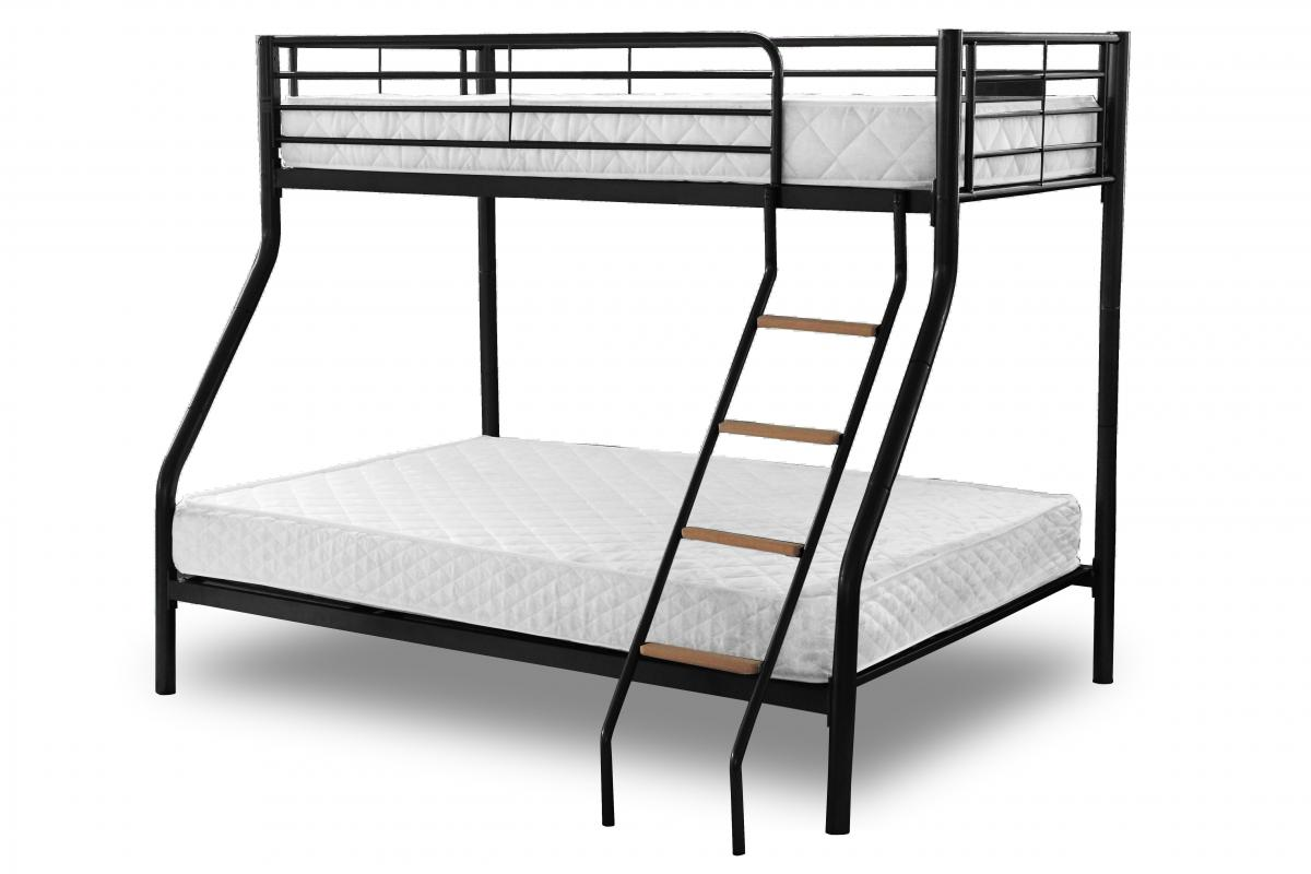 Alexa Triple Sleeper Bunk White / Black / Silver