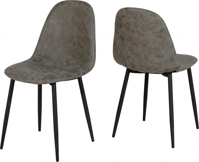 Athens Dining Chair in Grey Faux Leather