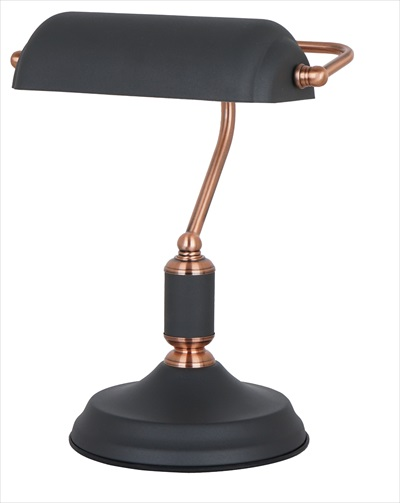 Bankers Table lamp - Sand black With Red Copper Trim