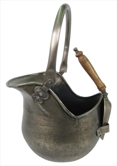 Bucket With Shovel Antique Pewter Finish