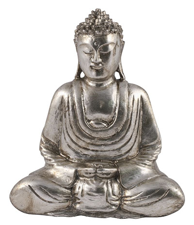 Wooden Buddha Hand In lap Antique Silver Finish