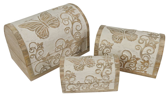 Butterfly Design Set Of 3 Dome Boxes