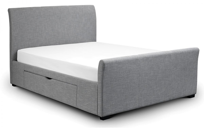 Capri Fabric Bed with 2 Drawers Double
