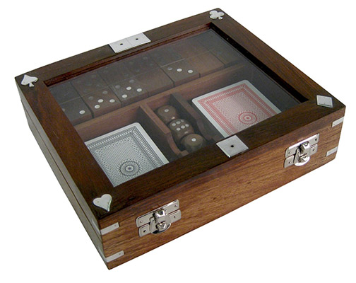 Cards, Dice, & Dominoes in a box Glass Top