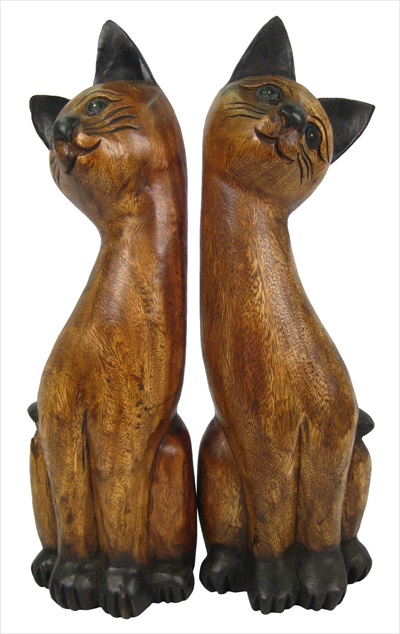 Wooden Cat Leaning Head Pair 50CM