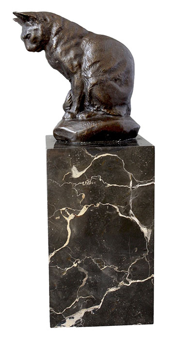 Cat Sculpture Bronze On Marble Base