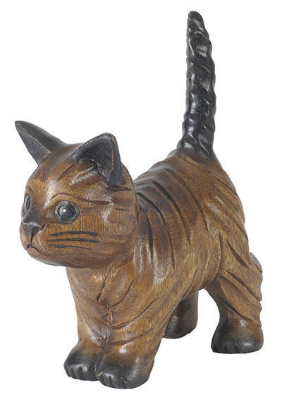 Wooden Cat Walking With Tail Up