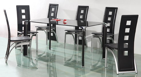 Glass tables & 6 Chairs