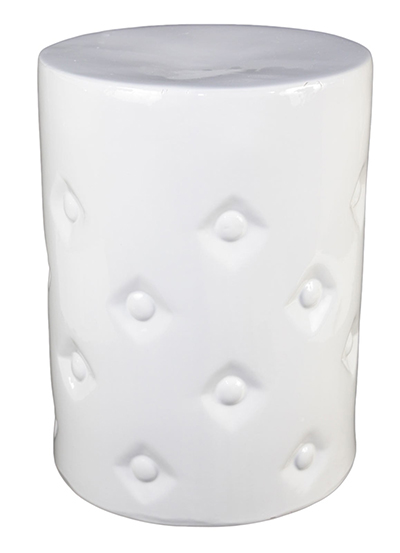 White Ceramic Button Stool