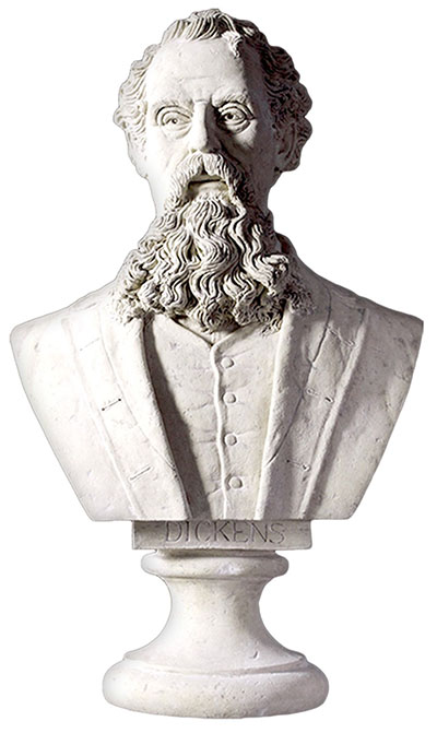 Resin Charles Dickens Bust Roman Stone Finish