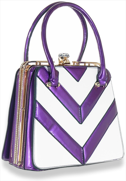 Chevron Stripe Hand Tote Purple