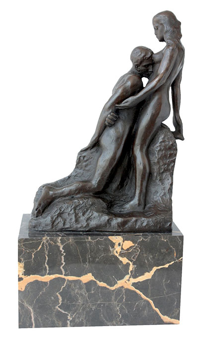 Couple Bronze embrace Sculpture On Marble Base