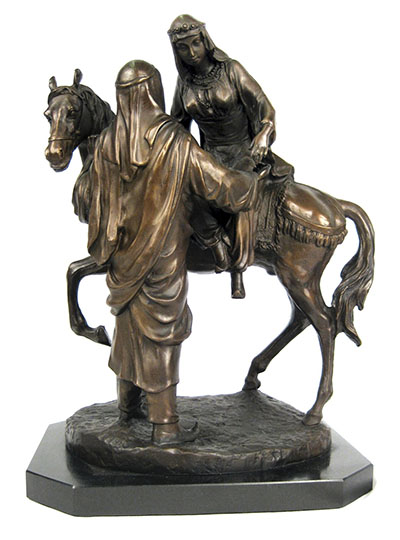 Couple With Horse Bronze Sculpture On Marble Base