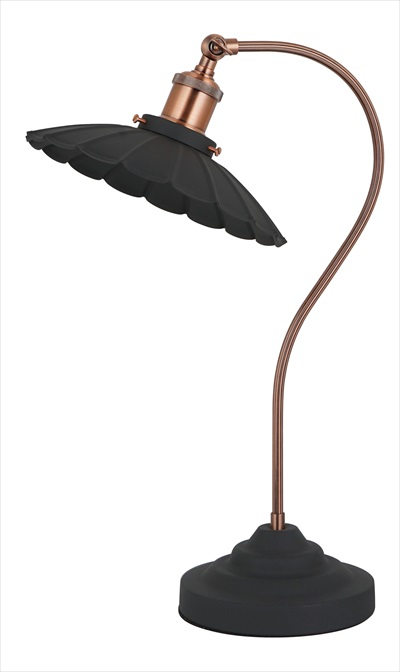 Curved Table Lamp -Sand Black With Red Copper Trim