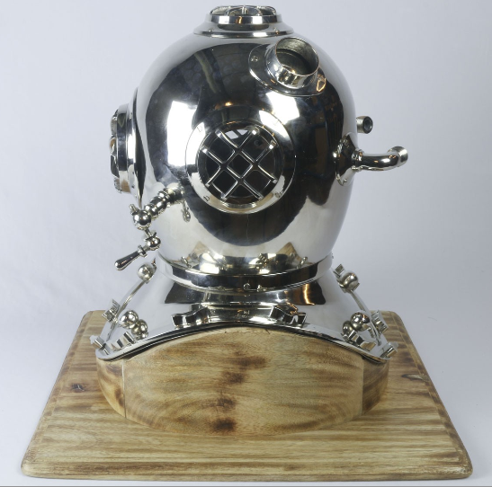 REPRO DIVING HELMET ON WOODEN BASE