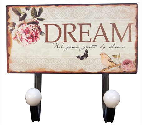 """Dream"" 2 Hooks metal Wall Hanger"