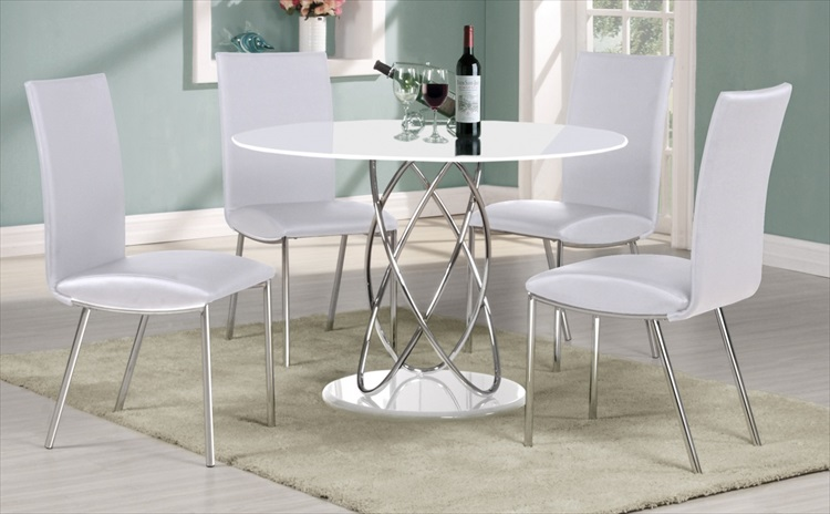 Eclipse Round High Gloss White Table & 4 Chairs