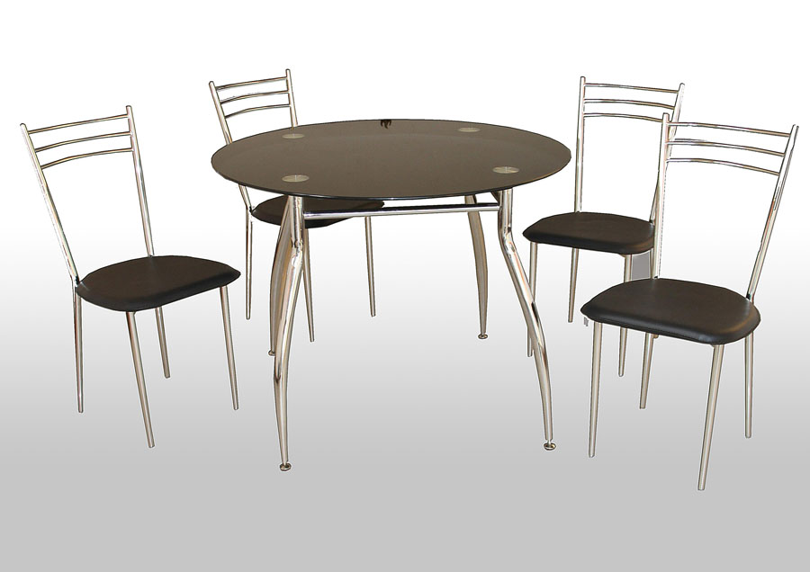 Etna Chrome & Black Glass Table & 4 Chairs