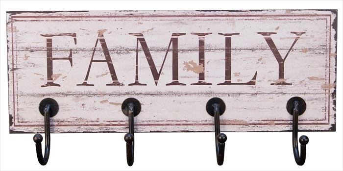 """Family"" 4 Hooks Metal Wall hanger"